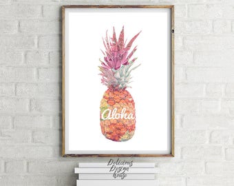 Aloha Beach Print Pineapple Poster Tropical Print / Printable Pineapples Pineapple Wall Art / Pineapple Wall Art Printable