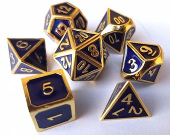DND Dice Set: Blue and Gold dnd gift idea metal dice set of dice d20 RPG Role Playing Games polyhedral dice