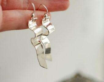 Bar Earrings, Long Dangle Earrings, Curve Jewelry, Sterling Silver Handmade