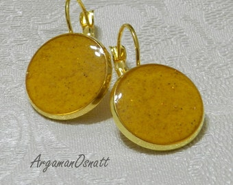 Yellow round earrings.Daily use  earrings . Round gold earrings. Lever back yellow earrings.