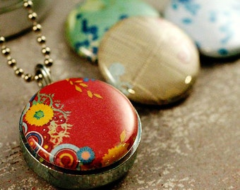 Red Floral Locket Necklace - Small Abstract Long Necklace Great Travel Necklace Girl Gift Friendship Love Eco Friendly Magnetic by Polarity