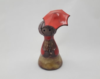 Vintage Ceramic Girl Figurine Wearing a Rain Coat and Holding an Umbrella