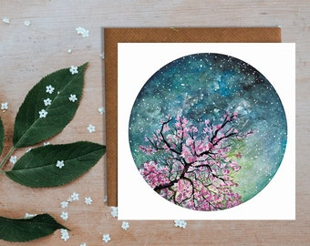 Cherry Blossom Blank Greetings Card