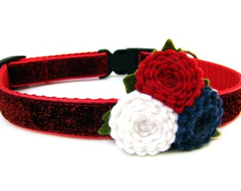 """July Dog Collar Red Glitter Dog Collar for Small Breed Dogs 5/8"""""""