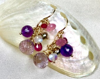 Pink Amethyst, Purple Amethyst, Pink Sapphire, Red Topaz, Rainbow Moonatone, Pyrite Earrings