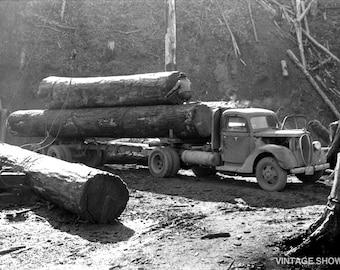 Vintage Logging Truck Photo - Tillamook Oregon - Old Photo