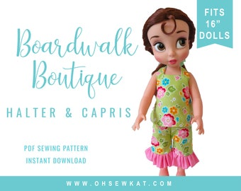 Animator Doll Clothes Sewing Pattern - Disney ® Animator Doll Clothes  Halter Top and Ruffle Capri easy to sew doll clothes Boardwalk Bout.