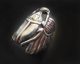 Scarab Beetle Sterling Silver Ring