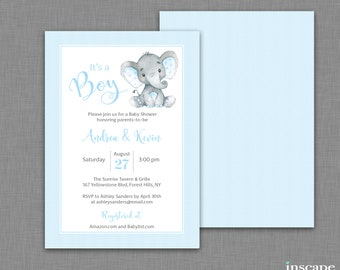 BLUE Elephant - BOY Baby Shower INVITATION Printable or Custom Printed - It's a Boy Baby Shower - Cute Elephant Baby Shower Polka Dot Invite