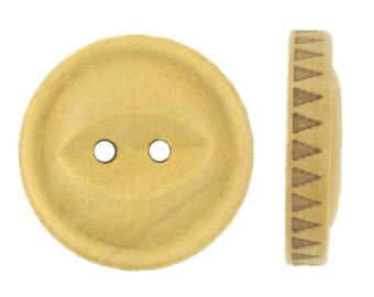Wooden Buttons - Zig-Zag Pattern Edge Wooden Buttons, 0.79 inch (10 in a set)