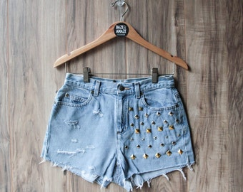 High waisted vintage denim shorts Size 6 | Studded ripped distressed shorts | Hipster shorts | Festival shorts | Distressed denim shorts |
