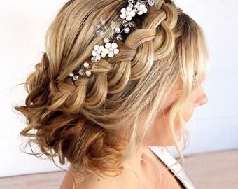Wedding Hair Vine, Bridal Headband, Wedding Hair Accessories, Wedding Headband, Vine Headpiece, Bridal Head Wreath, Boho Bridal Hair Jewelry
