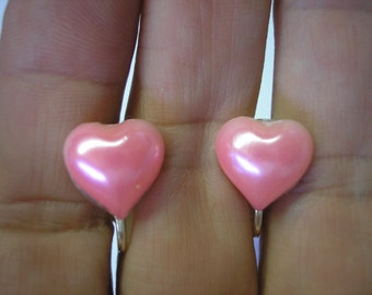"""Play Earring - Clip - Puffy Heart - Pearl Pink - 1/2"""""""