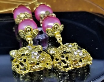 Beautiful Gold Lions Head With Crystals In Face Dangle Earrings Purple Beads Wire Loop For Pierced Ears Fantastic Lion Head
