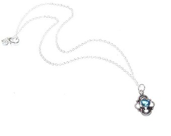 Sterling Silver Blue Topaz Pendant ,  Genuine Blue Topaz  ,  Sterling Silver Necklace , Gift For Her