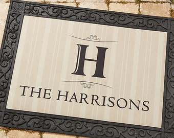 Elegant Monogram Recycled Rubber Back Personalized Doormat