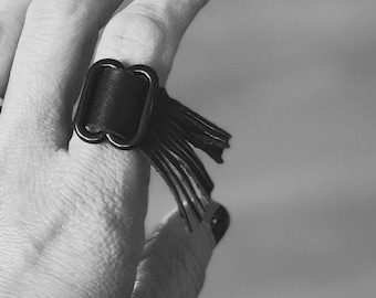 Black Leather Fringe Ring Size 6-10 (Adjustable) - ALL PROFITS donated to the ACLU