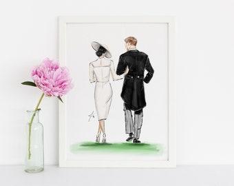 The Royal Walk (Fashion Illustration Print- Home Decor - Wall Decor- The Royal Wedding- Meghan Markle - Prince Harry)