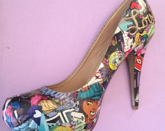 Monster High Heels Collage and Decoupage Customised Stiletto Shoes