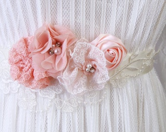 Wedding Dress Sashes Belts Bridal Dress Wedding Sash Belt - Ivory Coral Pink Flower Sash Belt - Rustic Sash Belt Boho Bohemian Woodland