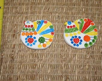 Vintage 1970's - Ceramica Del Convento Aracena Set of 2 Partridge ornaments - Rainbow Bird Stamped Ceramic Handmade Christmas Tree Ornament