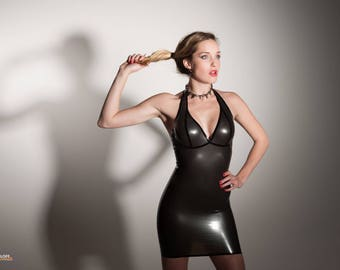 Latex halter dress