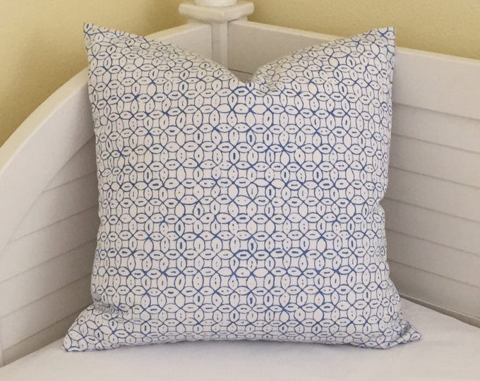Quadrille China Seas Melong Batik New Navy and White on Both Sides Designer Pillow Cover- Square, Lumbar and Euro Sizes