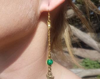 Malachite & Brass Elegant Dangle Earrings. Drop Earrings. Sleek Earrings. Elegant Earrings. Goddess Jewelry. Malachite Earrings. Gemstone.