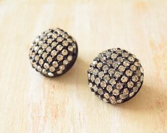 1980's Black Circle Rhinestone Earrings  | Clip on Earrings