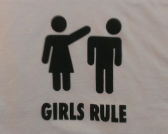 Long Sleeve Girls Rule Screen Print T-shirt in Mens or Womens Sizes S-3XL