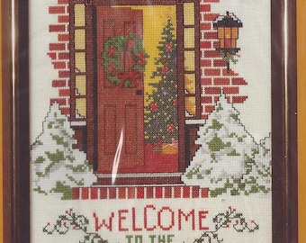 "80s Warm Welcome Creative Circle Kit 2400 Counted Cross Stitch Christmas Welcome Designed by Russell Bushee Finshed Size 8"" x 10"" NIP"