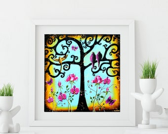 Tree Print, Love Birds Art Print, Aqua Green Birds Wall Art, Tree of Life Art, Romantic Couples Art Wedding Gift 13x13