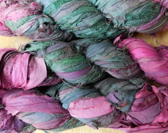 50 Yards,  Laura's Garden,  Pink and Green Sari Silk Ribbon,  Fair Trade,  from India,  wrapping ribbon