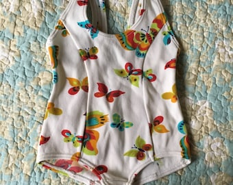 vintage toddler baby swimsuit sunsuit butterfly retro mod