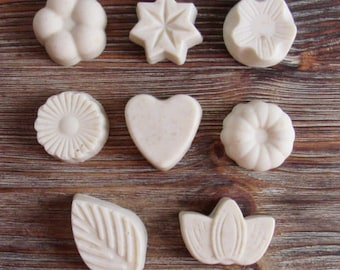 Flower Shaped Goat's Milk Soap Bars; Gift; Heart; Leaf; Floral; Mini Soap Bars