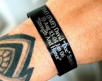 Black Memorial Bracelet (Customize your own) KIA Bracelet / Remembrance Bracelet / Loss of Child / Loss of Loved One / Triton Engraving