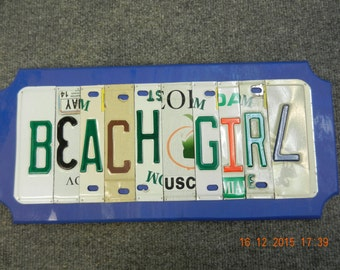 Beach Girl License Plate Sign (Made to Order)