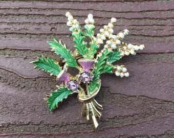 Vintage Jewelry Signed Exquisite  Thistle Flower Pin Brooch