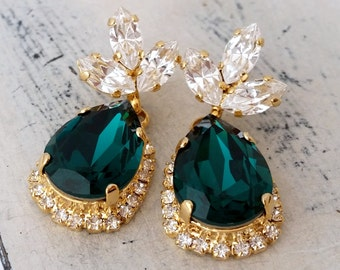 Emerald earringsemerald green rose gold crystal chandelier emerald earringsemerald green chandelier earringsdrop earringsemerald bridal earringsemerald mozeypictures Gallery