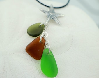 PEI Green, Brown, Aqua Sea Glass Necklace with Silver Starfish Charm on Black Leather Cord with Sterling Silver Spring Clasp