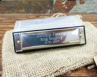 Personalized Stainless Steel Harmonica - Groomsmen -Kids Gifts- Ringbearer -Gifts for Men - Ring Security - Officiant- Birthday- Christmas