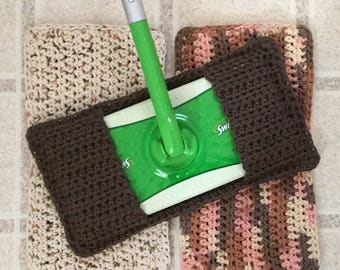 Swiffer Cover, Set of 3 Reusable Swiffer Covers, Crochet Swiffer Pad, Eco Friendly Mop Covers, Sweeper Cover, Swifter Cover, Brown Cover