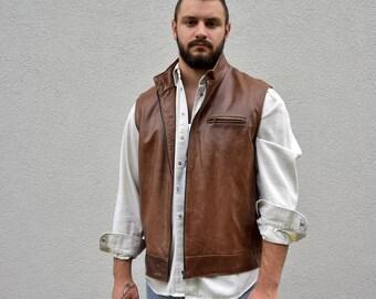 Men's Leather Vest // Vtg 80's  Genuine Leather Vest  Sleeveless Leather Jacket  Mens Sleeveless  Jacket  Size XL Menswear Casual Vest