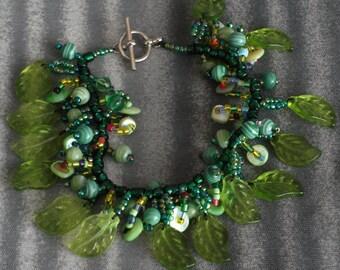 Spring green leaves bracelet