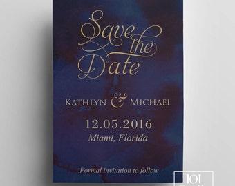 Watercolor save the date template printable save the date card gold and navy save the date design elegant