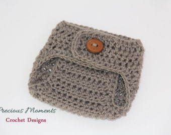 Select Your Color Diaper Cover, Newborn Diaper Cover, Baby Diaper Cover, Photo Prop, Crochet Diaper, Gray, Natural, Brown, Blue, Pink