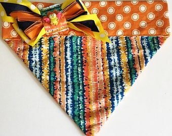 Blue & Orange Striped  Embroidered Bandana for Dogs and Cts