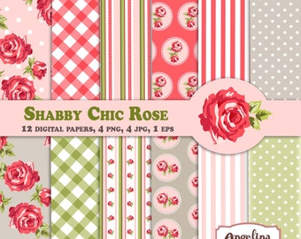 12 Shabby Chic Rose Digital Scrapbook Paper pack  for invites, card making, digital scrapbooking