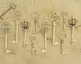 15 keys steampunk keys antique vintage key assortment tibetan silver jewelry supply silver keys wedding favors clés steampunk schlüssel