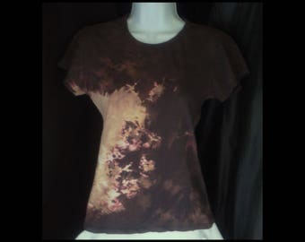 Acid washed large shirt Real Apparel baby doll blouse tee bleached top acid wash brown sand sepia taupe latte tan t-shirt (shirt no. 157)